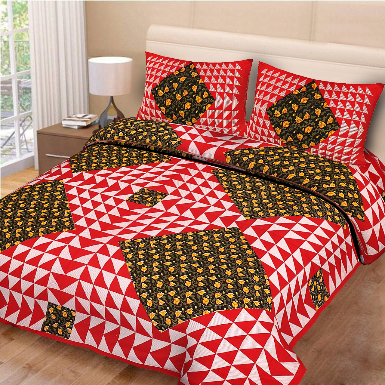 Naqsh Cotton Printed Bedsheet With 2 Pillow Covers   King Size(Red Colour)