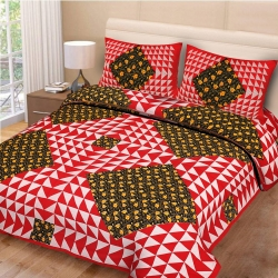 Naqsh Cotton Printed Bedsheet with 2 Pillow Covers - King Size(Red Colour)