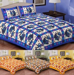 Naqsh Cotton Bedsheet with 2 Pillow Covers - King Size(Hand Work)