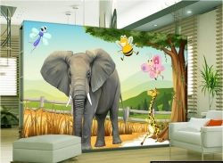 High Quality 3D wallpaper Elephant animal Cartoon Animation design with self adhesive for decorate Indoor wall by Konark Decor
