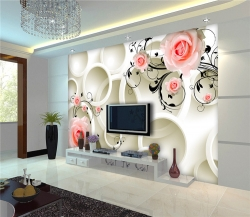 High Quality 3D wallpaper white rose flower design with self adhesive for decorate Indoor wall - Konark Decor
