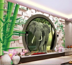 High Quality 3D wallpaper Leaf garden with elephant round door design with self adhesive for decorate Indoor wall by Konark Decor